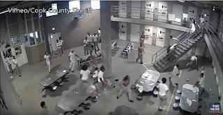 Violent prison brawl caught on tape