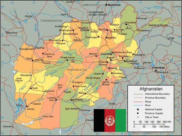 atau lebih khususnya di Asia Selatan dengan ibukota Kabul Peta Negara Afganistan Lengkap dengan Kota, Sumber Daya Alam, Batas Wilayah dan Keterangan Gambar Lainnya