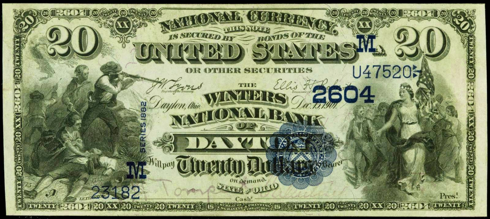 1882 20 Dollar Value Back National Currency Bank Note