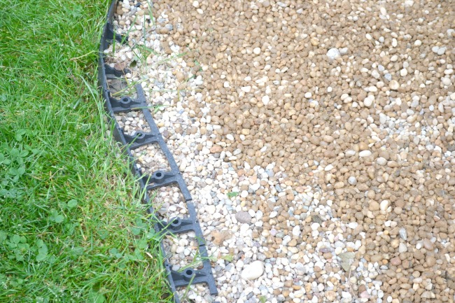 Pea gravel with plastic border