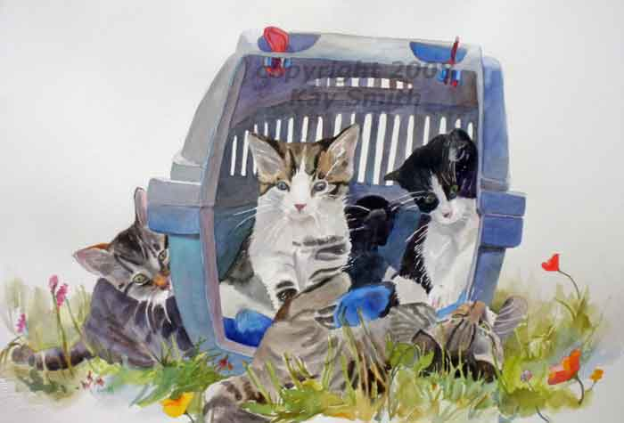 15x22 Watercolor Of A Litter Of 5 Kittens, Some Playing, Some Watching, And  Others Staying Inside Their Blue Cat Carrier. This Image Is SOLD.
