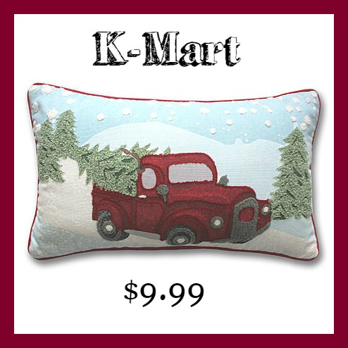 K-Mart lumbar Christmas pillow red wagon and Christmas tree