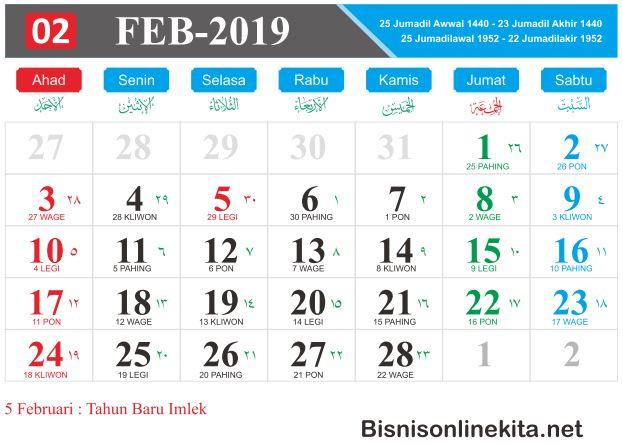 kalender 2019 februari