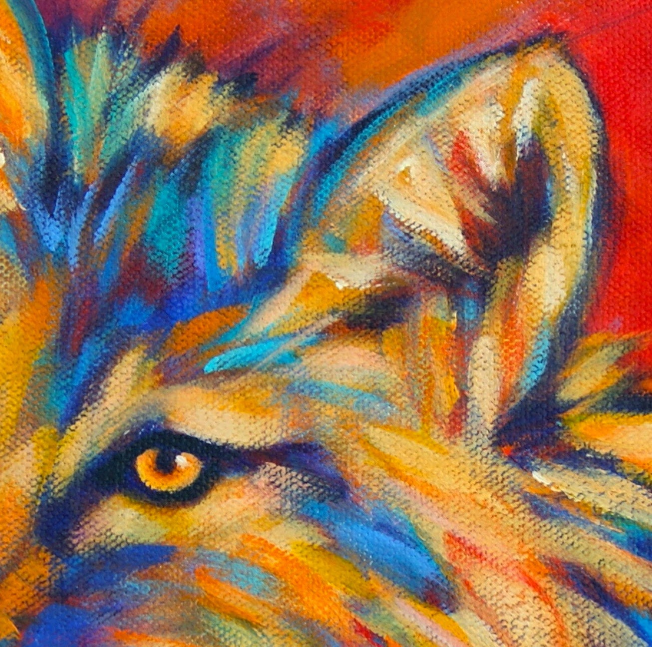 Paintings by Theresa Paden: Coyote Painting in Bright ...