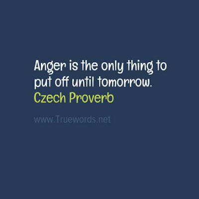 Anger is the only thing to put off until tomorrow