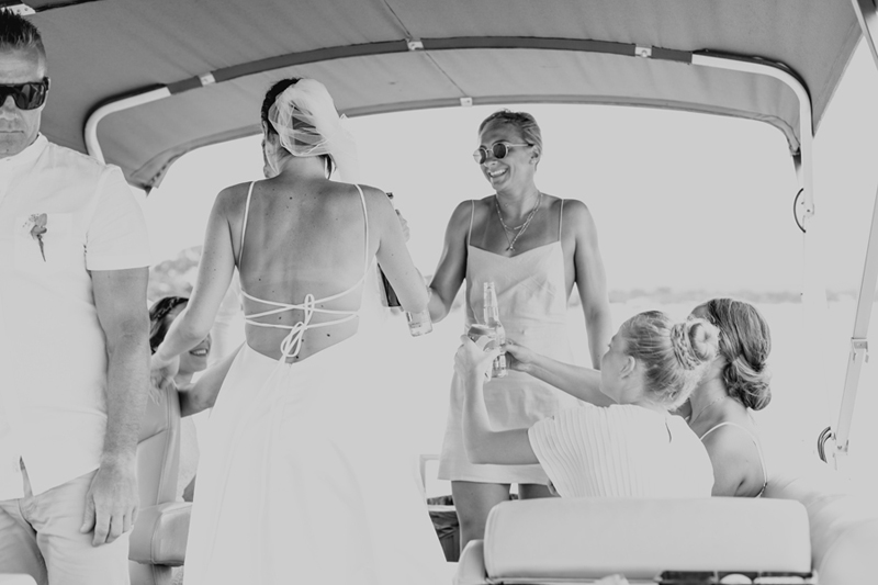 bridal party on boat