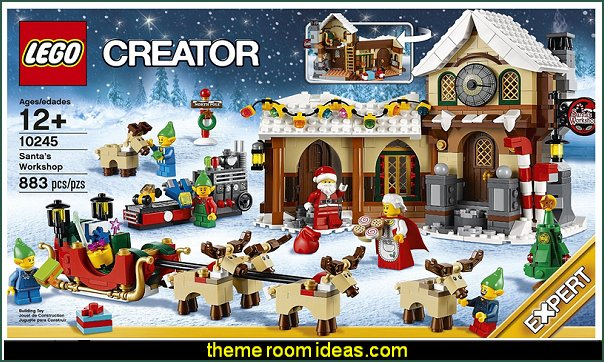 LEGO Creator Expert Santa's Workshop  Christmas decorating ideas - Christmas decor - Christmas decorations - Christmas kitchen decor - santa belly pillows - Santa Suit Duvet covers - Christmas bedding - Christmas pillows - Christmas  bedroom decor  - winter decorating ideas - winter wonderland decorating - Christmas Stockings Holiday decor Santa Claus - decorating for Christmas - 3d Christmas cards