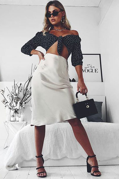 Polka Dot Crop Top in Forest Green + Midi Skirt in Champagne | 19 Gorgeous Fall Outfits You Want to Wear Over And Over Again