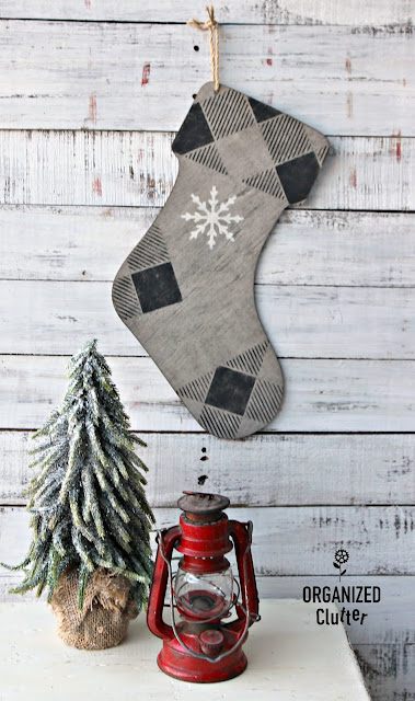 Easy DIY Rustic Faux Barn Wood Christmas Stocking #hobbylobby #oldsignstencils #stencil #barnwood #Christmas #crafting
