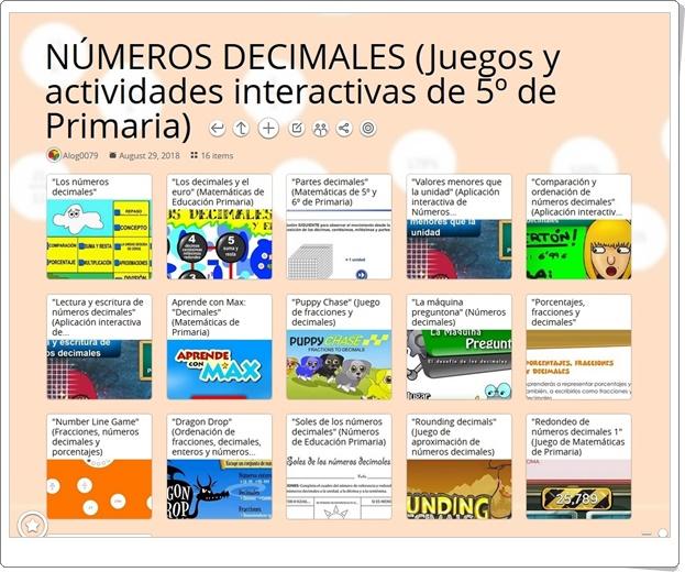 """""""16 Juegos y actividades interactivas para el estudio de los NÚMEROS DECIMALES en 5º de Primaria"""""""