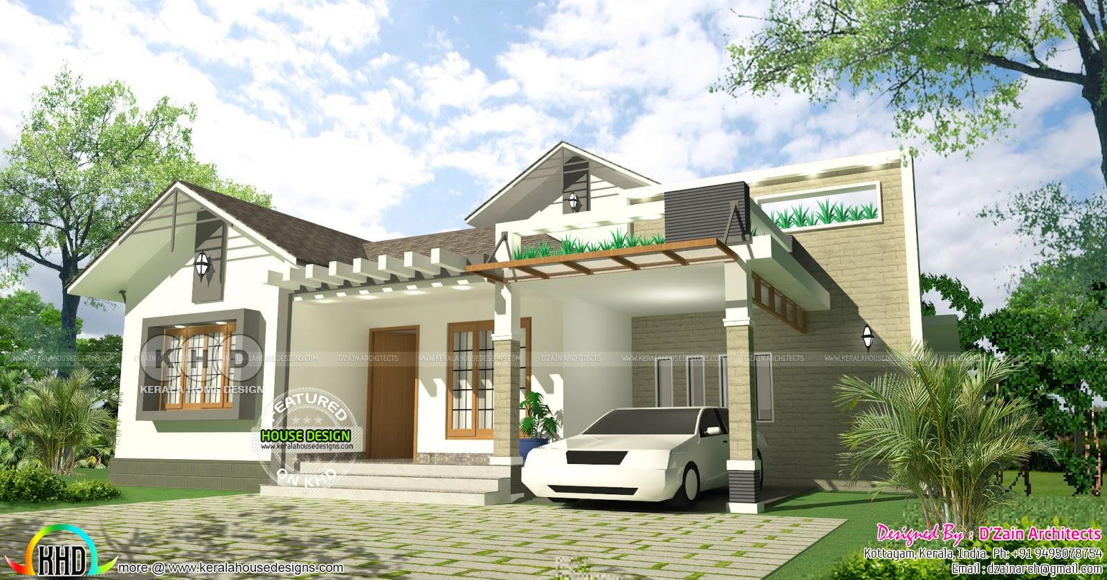 1850 square feet Mezzanine floor home - Kerala home design