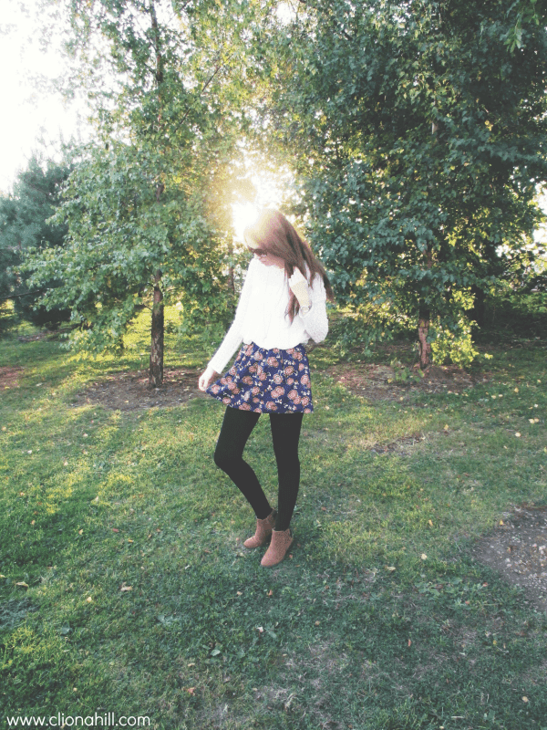 Autumn florals and brown ankle boots