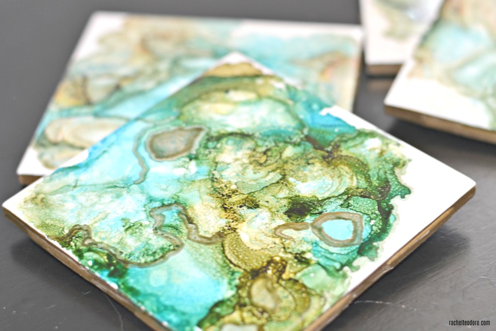Diy Agate Look Ceramic Tile Coasters With Gold Edge Made With