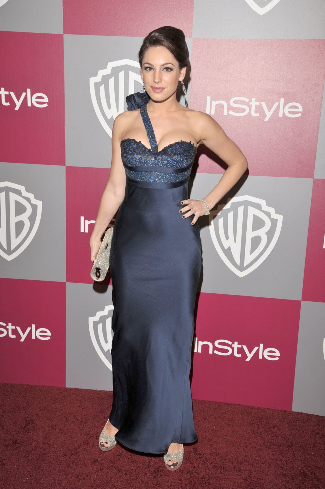 Znane osebnosti Stvari Kelly Brook Looking Hot Blue Gown- 8-1044