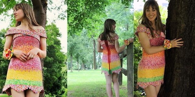 WOW!! Gaun Ini Terbuat dari 10 Ribu Bungkus Permen  yang Dikumpulkan 4 Tahun