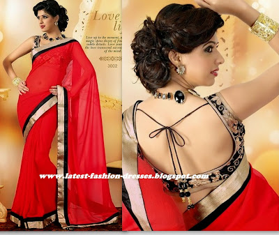 simple red colour border saree