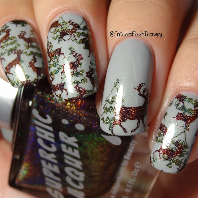 Christmas Nail Art - Deer & Trees