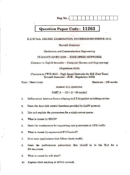 CS2060 High Speed Networks Nov Dec 2012 Question Paper