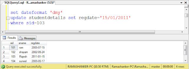 Sql server 2008 set dateformat dmy