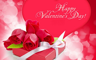 Happy Valentines day card with red roses