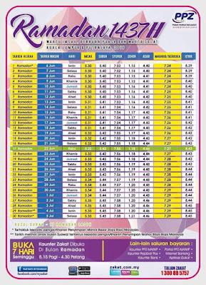 Kalendar Waktu Imsak | Berbuka Puasa | Waktu Solat Kuala Lumpur Putrajaya 1437H