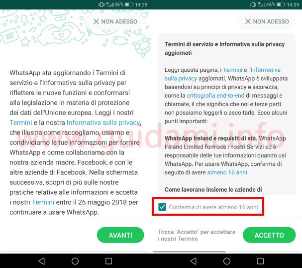 WhatsApp schermata Termini del servizio e Informativa sulla privacy