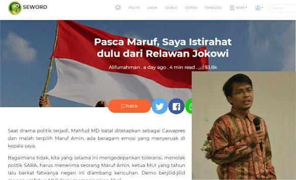 Pasca Ma'ruf, Pimpinan Seword Emosi, Ingin Istirahat Dulu dari Relawan Jokowi