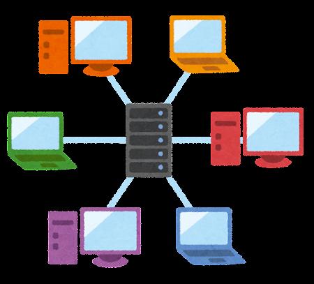 クライアントサーバ型ネットワークのイラスト