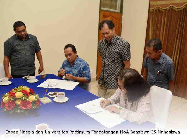 Inpex Masela dan Universitas Pattimura Tandatangan MoA Beasiswa 55 Mahasiswa