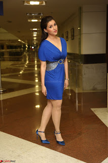 Mannara Chopra in Short Blue Dress at Rogue Movie Teaser Launch 1st March 2017 044.JPG