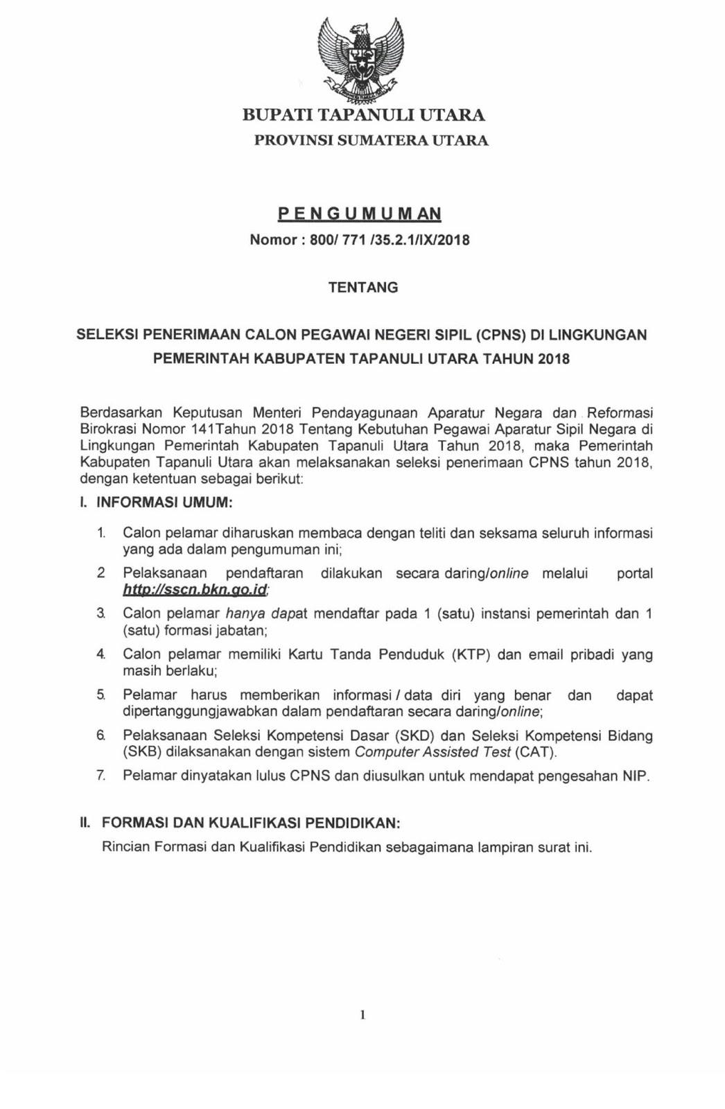 Lowongan Kerja  Pengumuman Seleksi CPNS Pemkab Tapanuli Utara [210 Formasi]   Oktober 2018