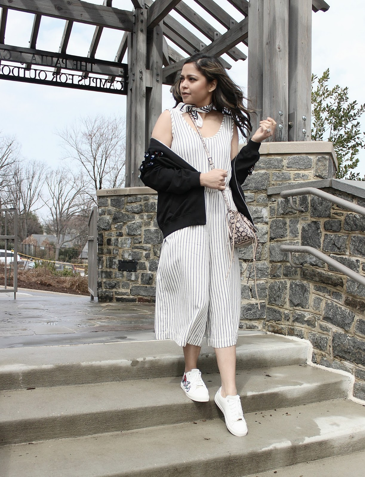 how to wear stripe romper, gap romper, black and white romper, casual, street style, bomber jacket outfit, aldo embroidered sneakers, spring fashion, ootd, saumya shiohare, myriad musings