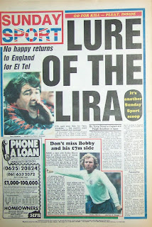 Old UK tabloid Sunday Sport newspaper back page