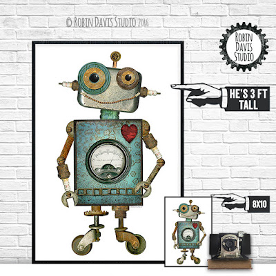 Large Robot Poster by Robin Davis Studio