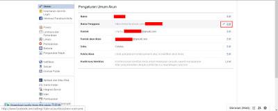 Selanjutnya pada bagian Umum pilih edit di menu Nama Pengguna, untuk mengedit username atau nama pengguna Facebook