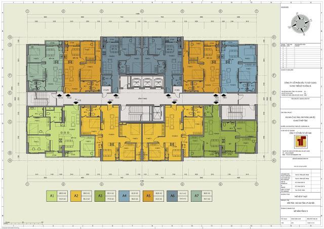 Mặt bằng thiết kế tầng 6-13 Hồng Hà Tower