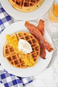 These cinnamon waffles with peach syrup are so delicious, and so simple to make!