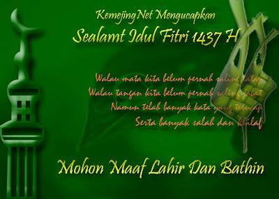 TENTANG ILMU Mengucapkan Selamat Hari Raya Idul Fitri 1437 H