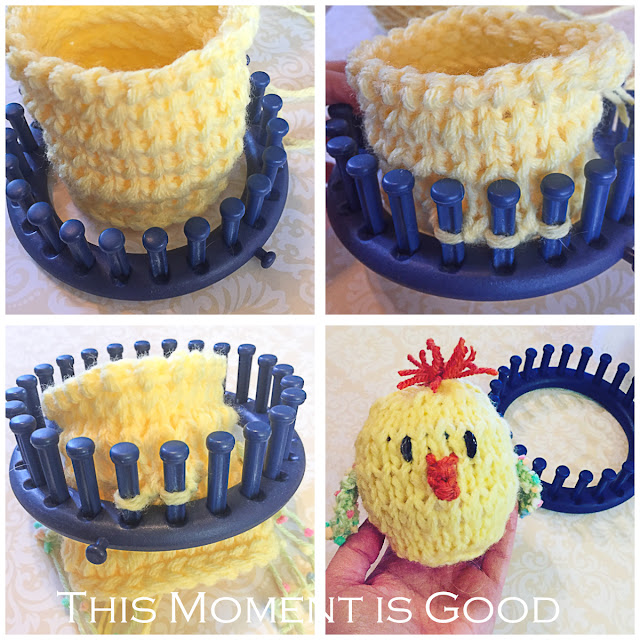 loom knit chick, loom knit easter pattern, loom knitting, free loom knitting patterns, loom knit chicken, loom knit amurigumi, loom knit easter patterns, Easter patterns, easter chick, easter bunny