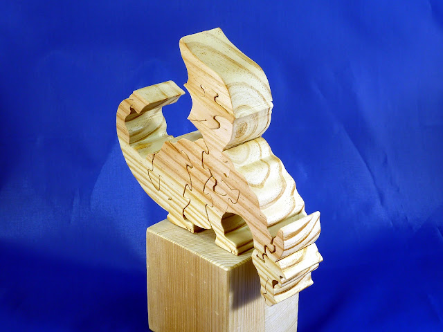 RIght Side Front Top - Wooden Toy Puzzle - Dragon - Yellow Pine - Unfinished - 7.5x6x15 Inches