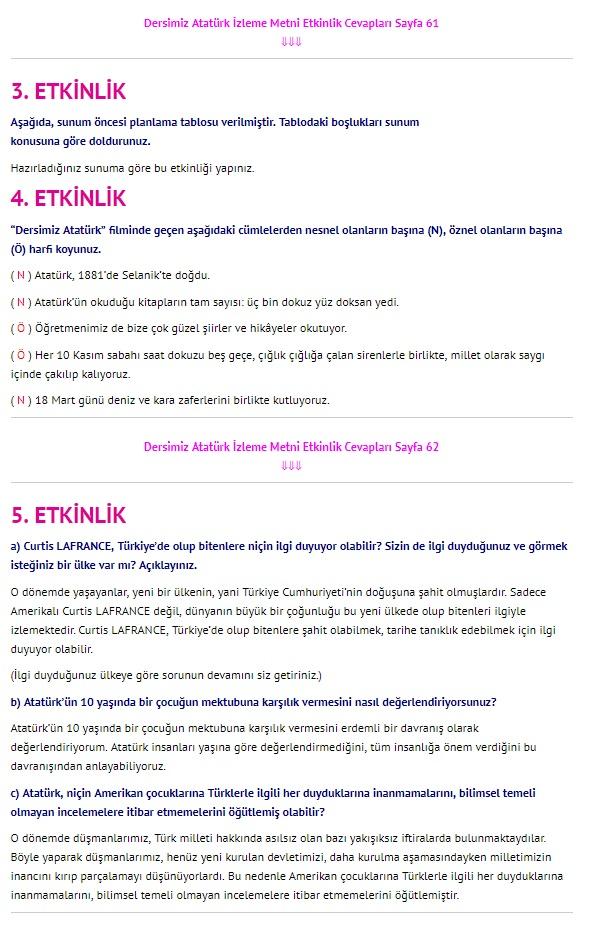 Dersimiz Atatürk Dinleme İzleme sayfa 61