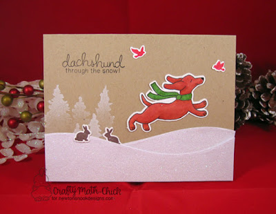 Dachshund Through The Snow Card by Crafty Math Chick | Holiday Hounds, Whispering Pines, and Serene Silhouettes stamp & die sets by Newton's Nook Designs