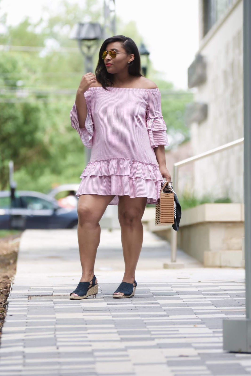 Summer Dresses For Every Budget, mom blogger, summer trends, summer dresses, summer looks, pregnant in heels, ruffle dress