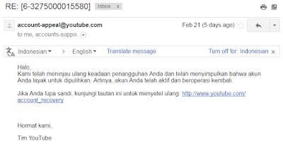 email Tips dan Cara Mengembalikan Akun Youtube Yang Terkena Suspend Lengkap Dengan Dolarnya