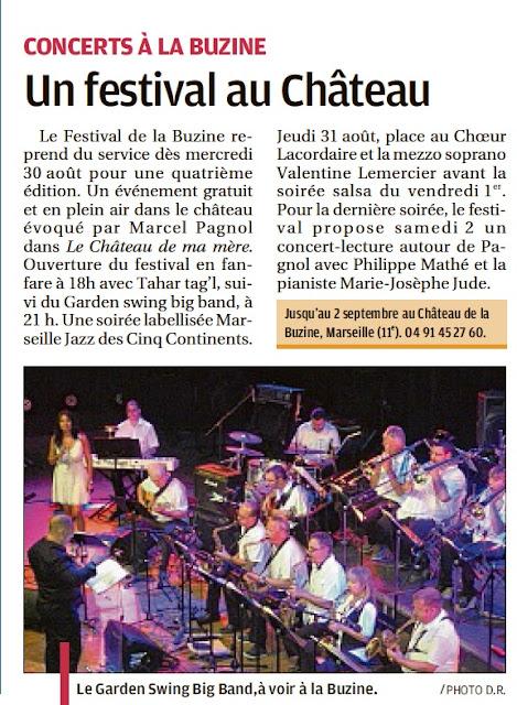 Article de presse La Provence annonce le Festival de la Buzine du mercredi 30 Août au 2 Septembre 2017 au Château de la Buzine à Marseille