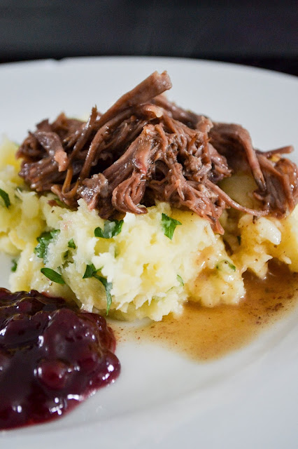 Slow Cooked Beef Short Rib with Parsnip Mash and Lingonberry Jam Paleo Dairy Free AIP Primal