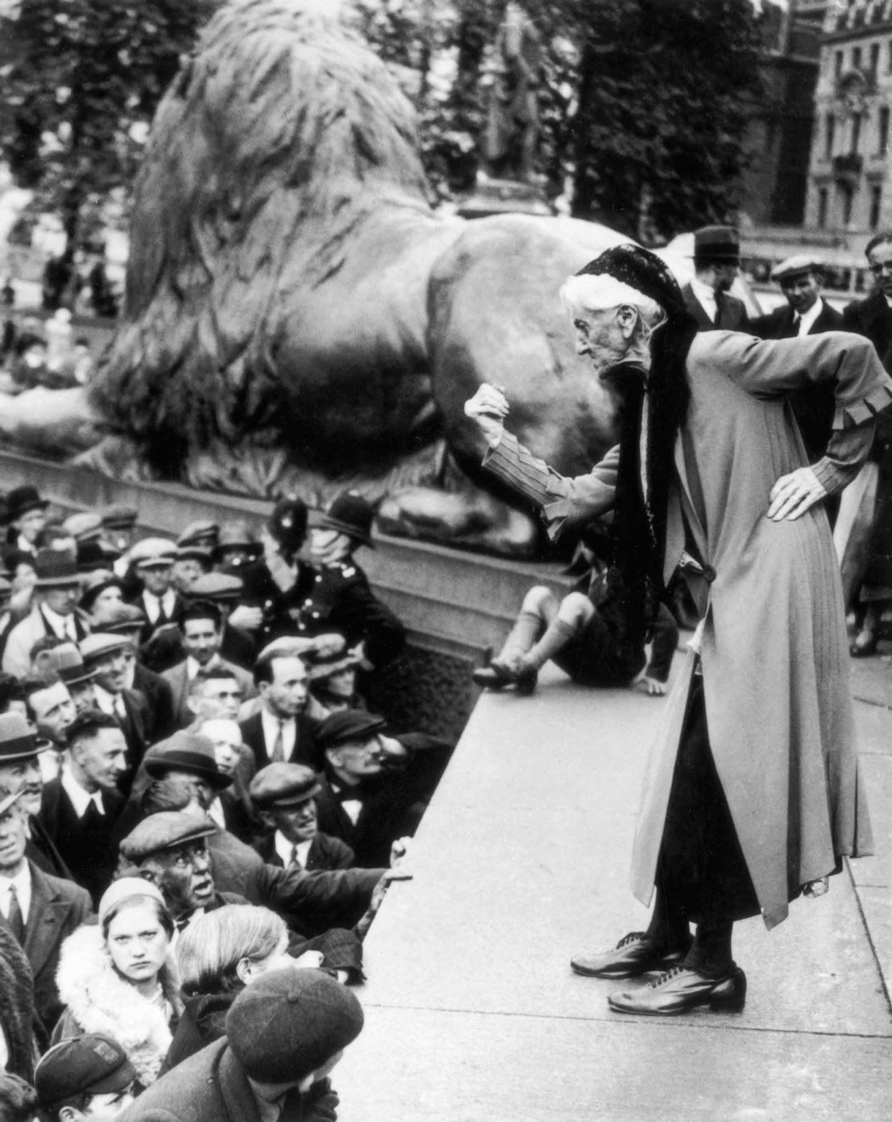 British suffragette Charlotte Despard (1844-1939) addresses the crowd in Trafalgar Square during a Communist rally. 1933.
