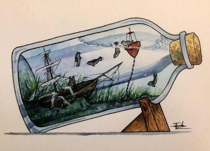 06-Seals-and-a-Shipwreck-Jon-Guerdrum-Ship-in-a-Bottle-Drawings-and-Paintings-www-designstack-co
