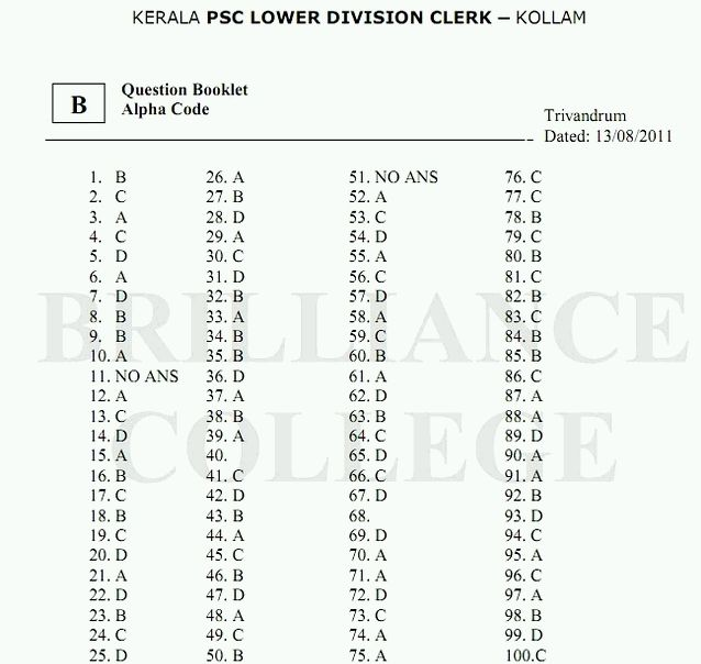 Kerala PSC LDC Answer Key Kollam 2011- Question Papers and