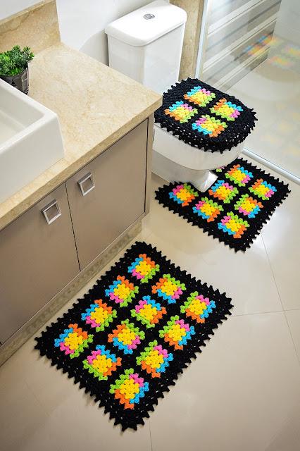 jogo de banheiro em croche com grafico